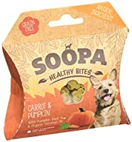 Pumpkin & Carrot Healthy Bites 50g, 100% natural Low in fat, calories & protein Hypoallergenic & pet nutritionist approved Help fight bad breath & aid digestion Winner of PPRA best pet product award