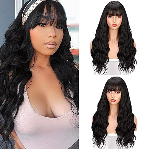 Long Black Wig with Bangs Wavy Long Hair Wig for Women Natural Looking Wavy Synthetic Heat Resistant Wig for Daily Party Cosplay Use(Natural Black)