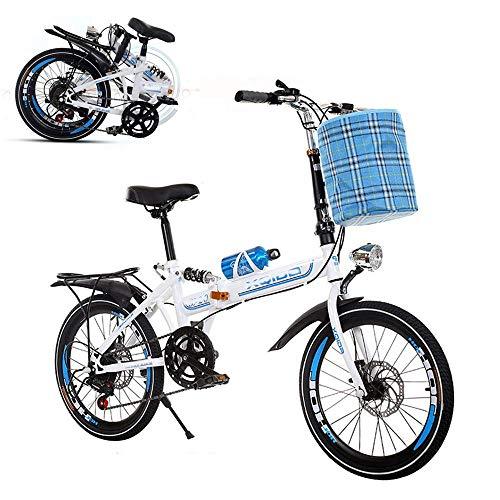 Bicicleta plegable para adultos, bicicleta portátil de 26 pulgadas, velocidad variable, amortiguación, amortiguación, frenos de disco dobles delanteros y traseros, marco reforzado, neumáticos ant