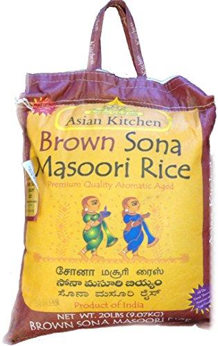 Asian Kitchen Brown Sona Masoori Aged Rice 20lbs Pound Bag 908kg Short Grain Rice with Natural Bran ~ All Natural | Gluten Free | Vegan | Indian Origin | Export Quality