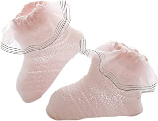 Turuste Toddler Kids Girls Lace Trim Sock Double Ruffle Ankle Socks Solid Color Cotton Princess Party Socks