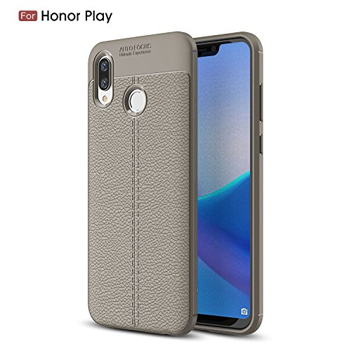 Cruzerlite Honor Play hülle, Flexible Slim Hülle with Leather Texture Grip Pattern and Shock Absorption TPU Cover Schutzhülle für Huawei Honor Play (Gray)
