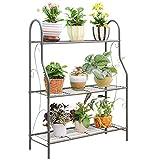 MORITIA 3 Tier Metal Plant Stand Scrollwork Design Indoor and Outdoor Flower...
