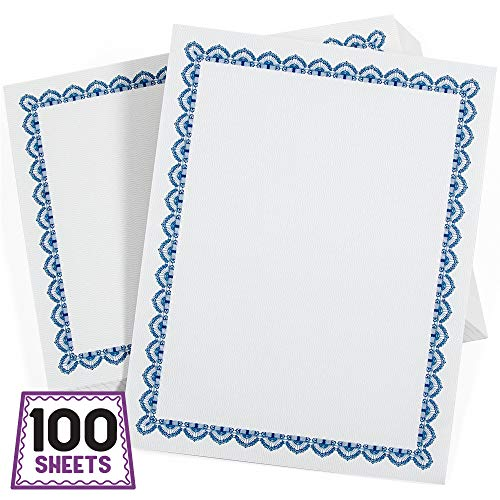 Sodaxx (100 Packs) Letter Size Printable Blank Certificate Paper Blue Border 8.5 x 11 inches - Blank Certificate Sheets Specialty Award, Diploma Paper, Award Paper, Laser Inkjet Printer Friendly