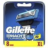 Gillette Mach 3Turbo Refill Razor for Men–Pack of 8