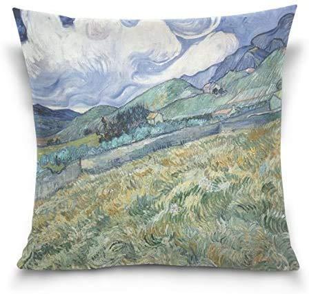 IUBBKI Blue Viper Van Gogh Pintura Paisaje montañoso Decorativo Cuadrado Funda de Almohada Funda de cojín para sofá Cama