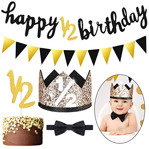 Spakon Glitter 1/2 Half Year Happy Birthday Banner Set Happy 1/2 Birthday Banner Glitter 6 Months Cake Topper Triangle Flag Banner 1/2 Birthday Crown Hat Bow Tie (Black and Gold)