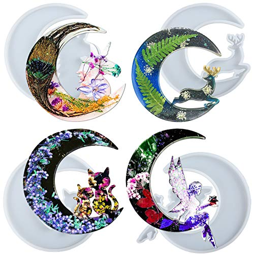 Crescent Moon Resin Silicone Molds Epoxy Casting Unicorn Deer Cat Fairy 4-count Large 5.2inch