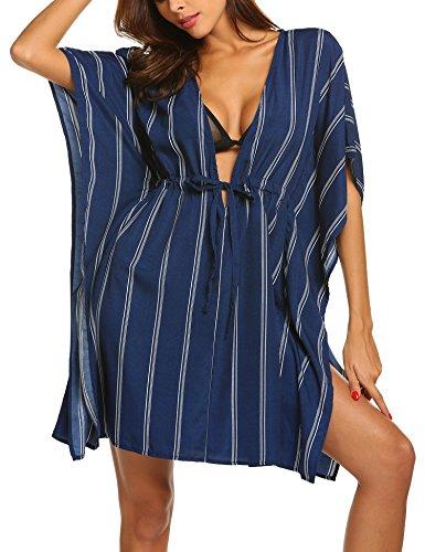 ADOME Damen Sommer Boho Chiffon Kimono Stil Gedruckt Tops Jacke Cardigan Blusen Beachwear