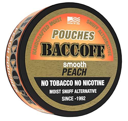 BaccOff, Smooth Peach Pouches, Premium Tobacco Free, Nicotine Free Snuff Alternative (5 Cans)