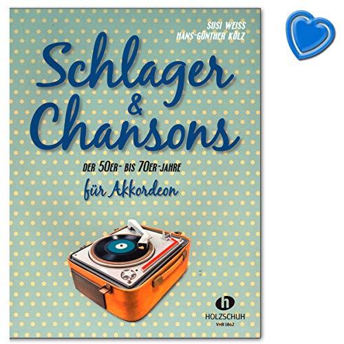 Schlager and Chansons van de 50er tot 70er - 40 Evergreens en slagers, bewerkt voor Accordeon - Songbook met kleurrijke hartvormige muziekklem - VHR1862 9783864340628