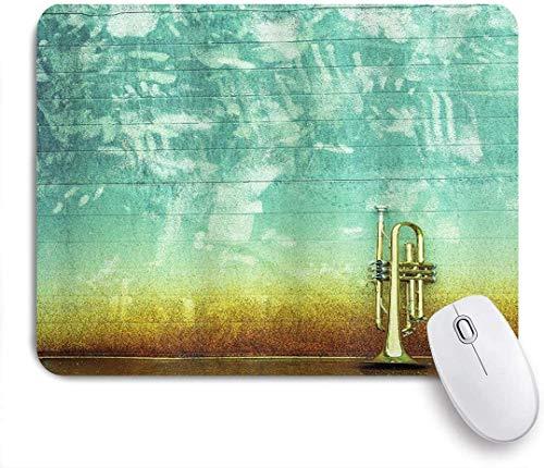 Gaming Mouse Pad Rutschfeste Gummibasis, Musik Altes Alter Abgenutzte einzelne Trompete steht allein gegen ein verblasstes Wand-Jazz-Themenfoto, für Computer-Laptop-Schreibtisch