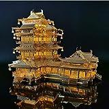 Modelo De Construcción 3D Metal Ocean Ancient Chinese Architecture Rompecabezas De Metal 3D Torre Yuejiang Diy Corte Por Láser Ensamblar Modelo Jigsaw Juguetes Para Adultos Con Luz Led