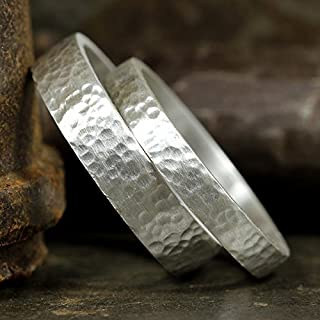 Matching Wedding Bands Set 925 Sterling Silver Hammered Texture Flat Pipe Cut His and Hers Thick Hand Forged Wedding Rings - FREE Custom Engraving