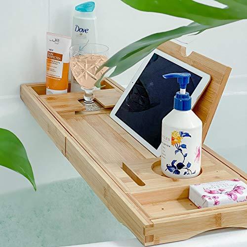 Deep Calm Bath Tray Caddy - Extendable Bamboo Bathtub Board - Non-Slip...