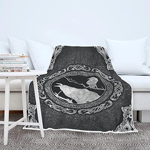 AXGM Manta para adultos y niños, diseño de cuervo vikingo, tatuaje, impresión 3D, manta de lana, manta de invierno para sillón, color blanco, 150 x 200 cm
