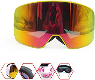 Iddefee Riding Glasses Men and Women Cylindrical Ski Goggles Motorcycle Riding Goggles Ski Glasses Anti-Fog Goggles Windproof Sand-Proof Goggles Unisex Racing Goggles (Color : Yellow)