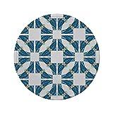 Rutschfreies Gummi-Rundmauspad traditionelles Hausdekor portugiesisches Pflaster Azulejo-Mosaik mit...