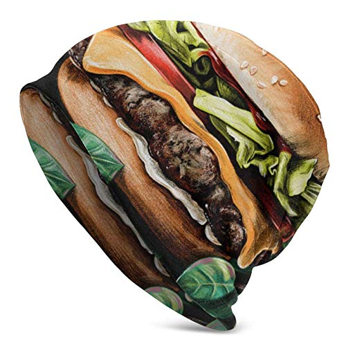 Gorro de Punto, apetitosa Pintura de Hamburguesas, Gorro de Calavera Suave para Adultos, Gorro cálido para Hombres y Mujeres