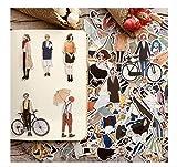 JIANGGUOMIN 280Pcs Nette selbst gemachte hübsche Mädchen-Scrapbooking-Aufkleber/dekorativer...