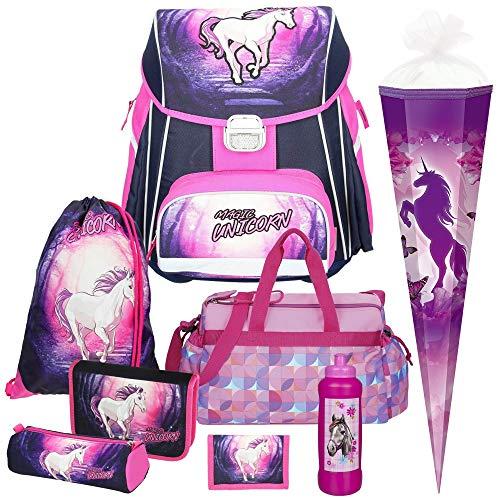 Spirit Magic Unicorn Einhorn Schul-Ranzen-Set 8tlg. mit Sporttasche,Schultüte und Trinkflasche