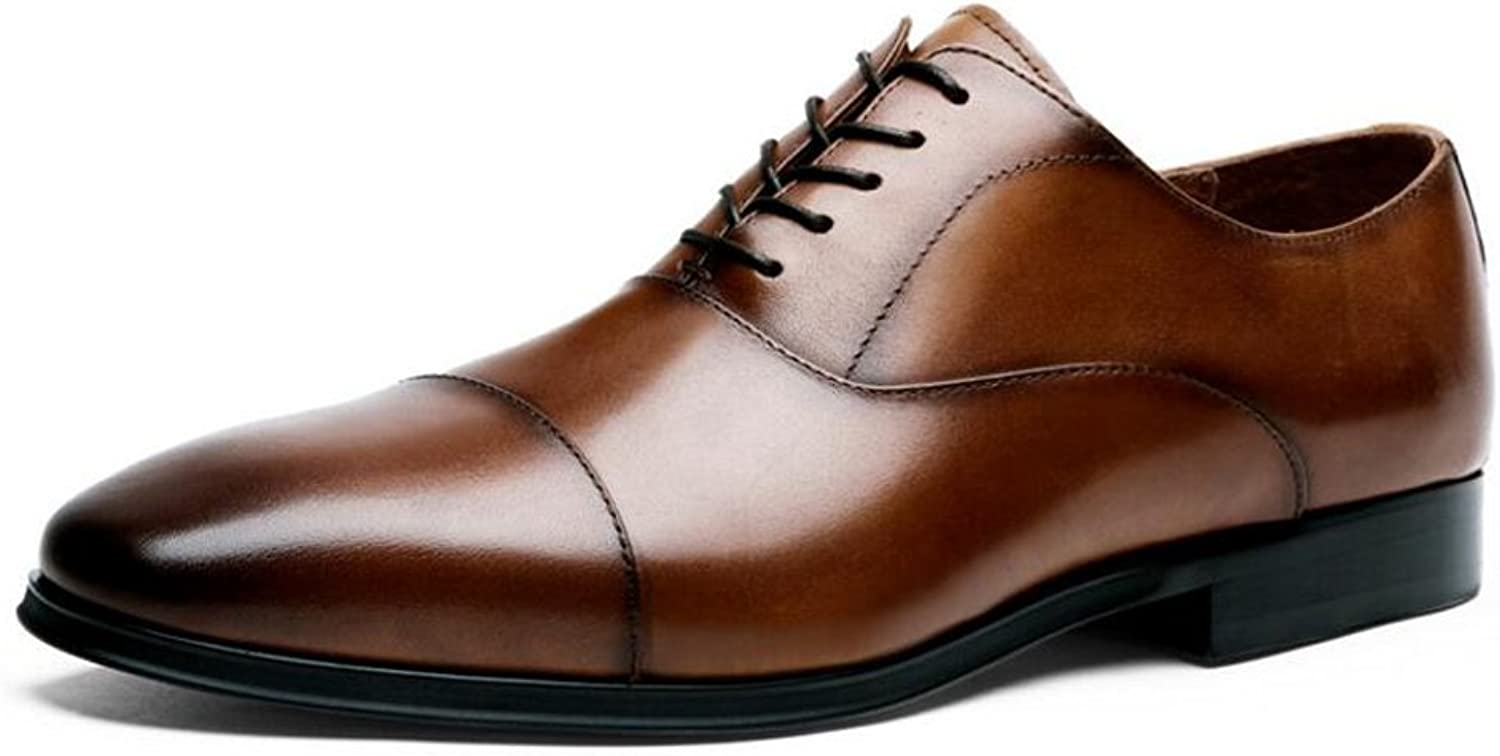 GAIXIA Men's Dress shoes Business shoes with Men's shoes Casual Wedding Pointed shoes 39-47 Yards Men's Leather Boots (color   Brown, Size   45 EU)