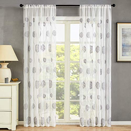 MRTREES Floral Embroidered Sheer Curtains 84 inches Long Living Room Semi Curtain Sheers Bedroom Flower Embroidery Voile Curtain Panels Drapes Rod Pocket Window Treatment 2 Panels Grey on White