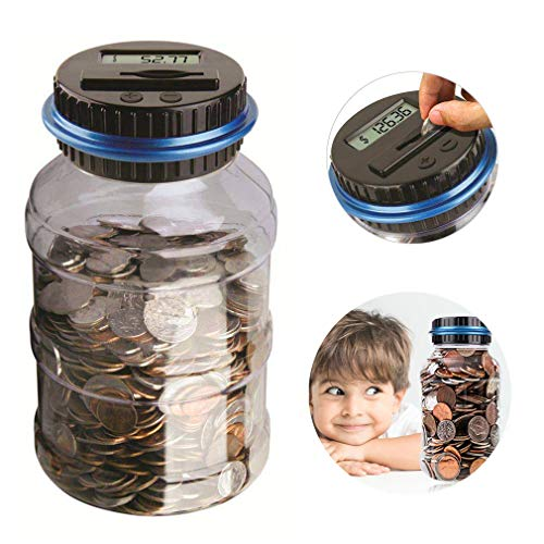 Winnsty Coin Piggy Bank Counter LCD Counting Coin Money Bank Toys Gifts (Blue)