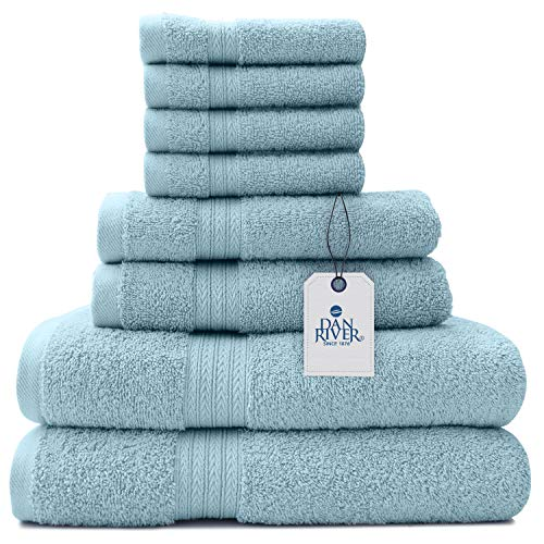 100% Cotton 8 Piece Bathroom Towel Set-2 Oversized Bath Towels 30x52 - 2 Hand Towels 16x28 - 4 Wash Cloths 12x12 - Ideal for Home, Hotel, Spa-Luxury Ultra Soft, Absorbent Towel Set – Blue Skyride