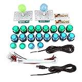 Kits de juegos de arcade, 20 botones iluminados con LED DIY + 2 joysticks + 2 kit de codificador USB Juego de piezas de juego Fighting Stick Collection Dos jugadores
