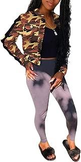 Women Fashion Camo Print Denim Jackets Long Sleeve Button Up Short Crop Jeans Coat Shawl Sexy Clubwear