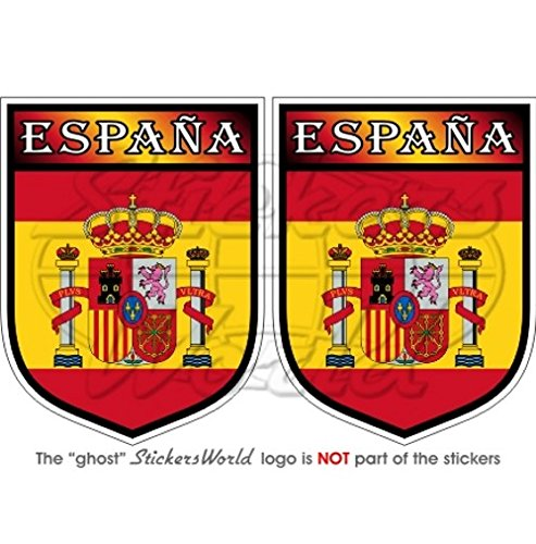 Espagne Espana espagnol Bouclier 75 mm (7,6 cm) Bumper en vinyle autocollants, Stickers x2