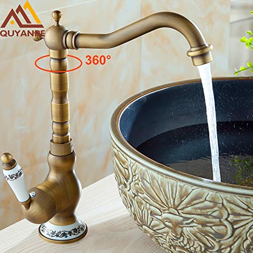 JYHW Deck Mounted Antique Brass Bathroom Sink Mixer Faucet With Ceramic Handle Hot and Cold Water Face Mixer Tap United States