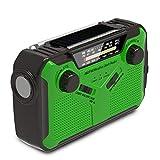 Mpencent Radio de Tiempo de manivela Solar de Emergencia Radio de Tiempo Am/FM/NOAA, Radio de Supervivencia de huracán portátil con Linterna LED, lámpara de Lectura,Verde