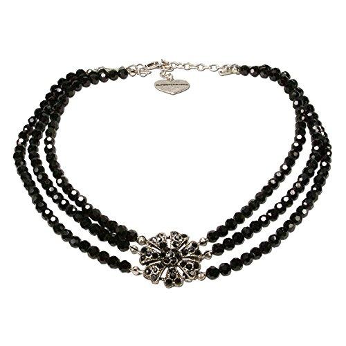 Alpenflüstern Perlen-Trachten-Collier Jasmin - Trachtenkette mit Strass-Blüte - Damen-Trachtenschmuck Dirndlkette schwarz DHK139