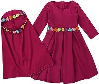 217c6ab6e240a Moonuy 2 PCS Filles Robe Musulmane Nouveau-Né Bébé Fille Enfants Islamique  Longue Robe Abaya