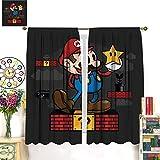 Super Mario Game Comics Decoración de cortina de lujo, 140 x 160 cm, el ambiente de dormir se vuelve negroPara la vida, el comedor, el dormitorio