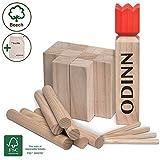 Toyfel Kubb Odinn XXL - Juego de ajedrez vikingo de madera de haya premium certificada FSC® y bolsa de tela - hasta 12 Personas Juegos de exterior para niños y adultos