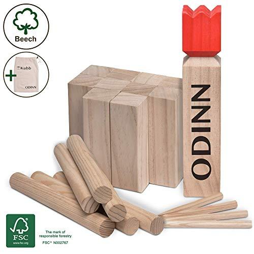 Moorland Toyfel Kubb Spiel XXL Odinn – Schweres Buche Premium Holzspiel FSC®-Zertifiziert mit Stoffbeutel - Wikingerspiel Outdoor Spiele Schwedenschach Holzspiele