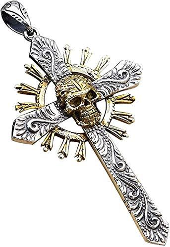 CAISHENY Collar gótico Grande con Colgante de Cruz de Calavera de Oro para Hombres, Mujeres, Collar con Colgante para Mujeres y Hombres
