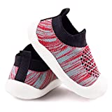 Baby First-Walking Shoes 1-4 Years Kid Shoes Trainers Toddler Infant Boys Girls Soft Sole Non Slip Cotton Mesh Breathable Lightweight Slip-on Sneakers Outdoor(Black02,5 Toddler) T16