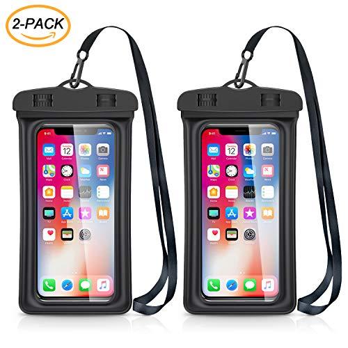 Catynore Pochette Téléphone Étanche Flottante [Certifiée IPX8] Universel Jusqu'à 7 Pouces Idéal pour iPhone 11, XS Max, 8, 7 – Noir - Lot de 2