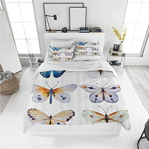 Modern Duvet Cover Nature,Butterflies Insect Bugs Collection Vintage Retro Watercolor Wedding Print Artwork,Multicolor Best Modern Style Bed Quilt Bed Cover for Men Women (Full)