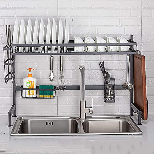 Escurridor de platos multiusos sobre el fregadero, escurridor de platos de hierro de 2 niveles con soporte para utensilios, estante de platos grande para organización de almacenamiento en la cocina-B
