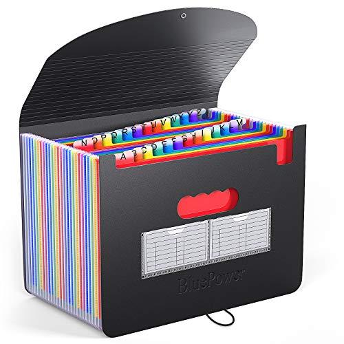 BluePower 26 Pockets Accordian File Folder Organizer, Expanding Filing Box A4 Letter Size Expandable Plastic Folders, Portable Accordion Document Paper/Bill/Receipt/Files with 3 Pcs A-Z Alphabet Tabs