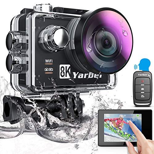 Yarber AR01 8K 20MP/ 4K 60 fps Action Cam, Digitale Actionkamera mit WiFi Touchscreen, EIS 40M unterwasserkamera, 8X Zoom Sprachsteuerung Fernbedienung Zubehör Kit Sportkamera