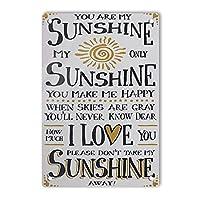 RCY-T Retro I Love Sunshine サイン, 軽量アルミ壁の装飾ヴィンテージサイン for Men Cave Coffee Bar Home Garage Movie 20x30cm