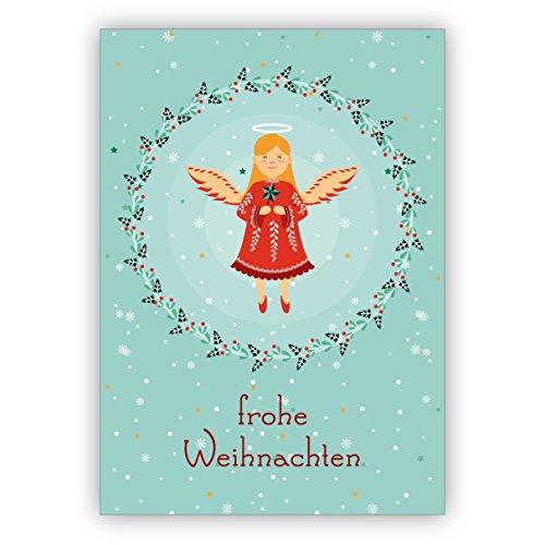 10 Stück Nostalgie Weihnachtskarte mit Weihnachtsengel im Beerenkranz: frohe Weihnachten • weihnachtliches weihnachtliches Grußkarten Set mit Umschlägen zum Fest der Liebe für Familie und Freunde