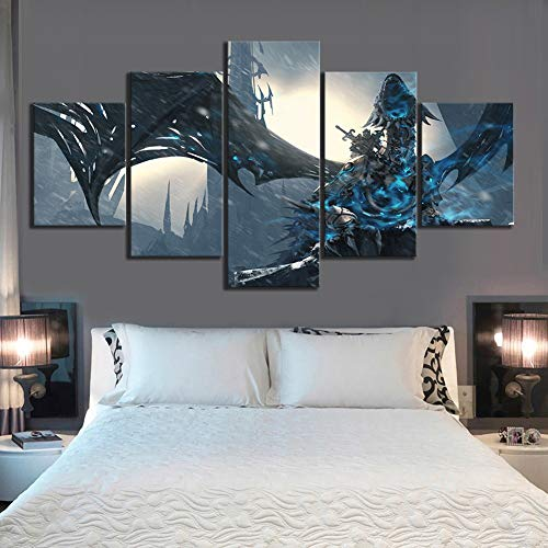 HD Afgedrukt Muur Kunst Afbeeldingen Canvas Posters Huisdecoratie 5 Paneel World of Warcraft Wrath of The Lich King Spel Schilderen Foto,A,40x60x2+40x80x2+40x100x1