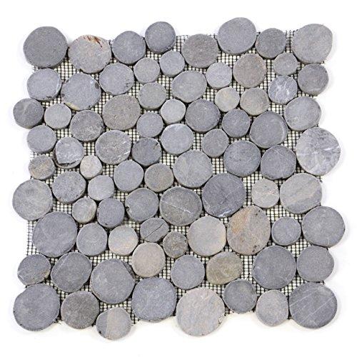 Divero HF55537 11 Fliesenmatten Naturstein Mosaik aus Marmor für Wand und Boden grau á 31 x 31 cm,